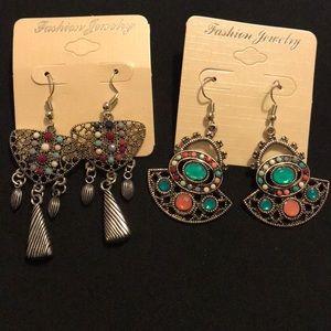 Jewelry - 💐Lot of 2 NEW tribal Boho hippie dangle earrings